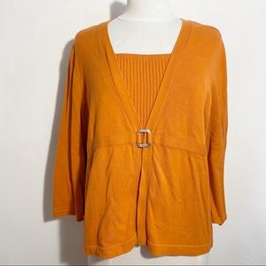 """CHRISTOPHER & BANKS """"two-fer"""" sweater top XL"""